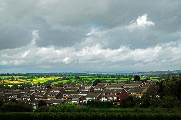 View of houses and fields in Sheffield