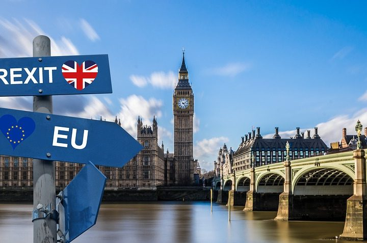 A sign in front of the River Thames and Houses of Parliament with 'Brexit' and 'EU' on it