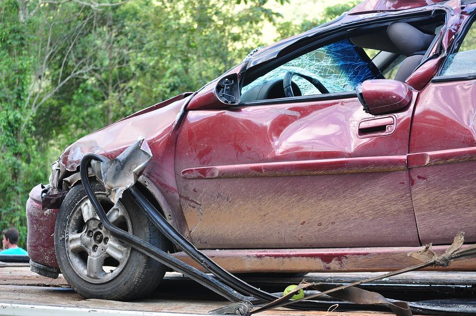 damaged car following a crash