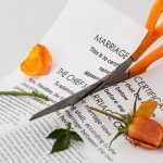 marriage certificate cut in half with scissors