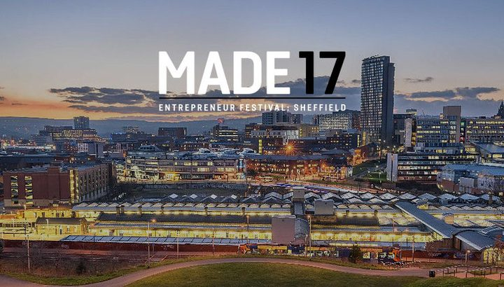 Sheffield skyline with 'MADE 17' in the sky
