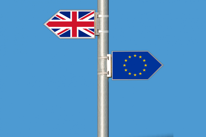 Road signs showing EU flag and Union Jack, symbolising Brexit